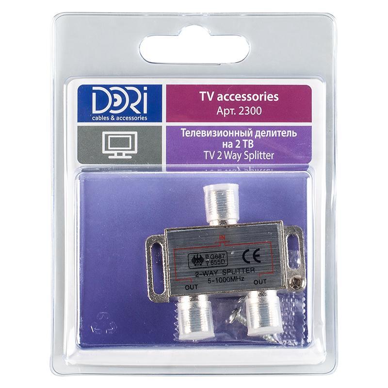 Разветвитель F на 2 телевизора Dori (5-1000MHz) BL