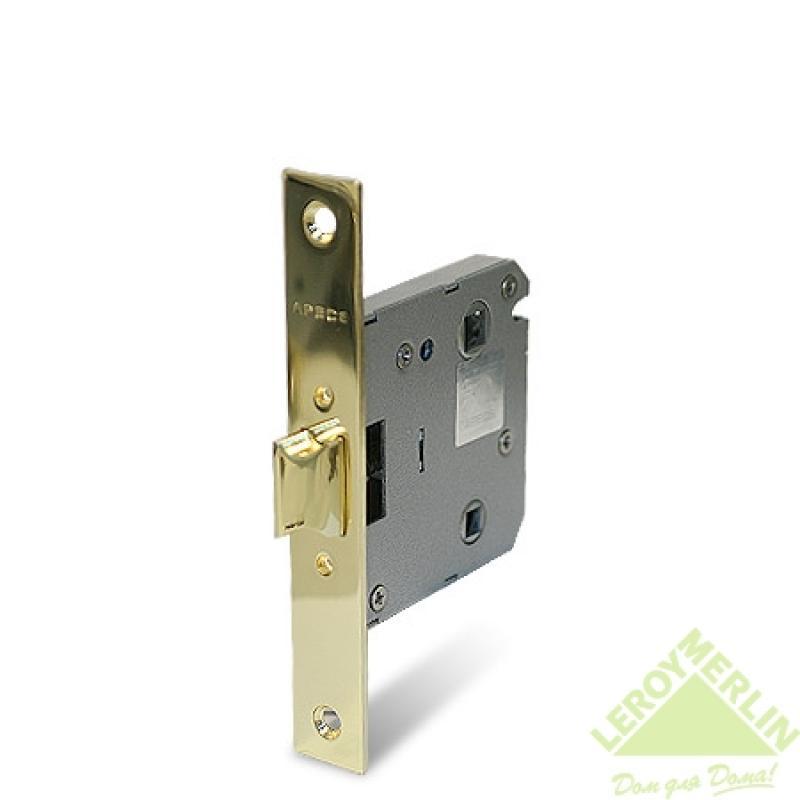 Защелка дверная сантехн. с фиксатором Apecs 5500-WC-G, золото, без ручек