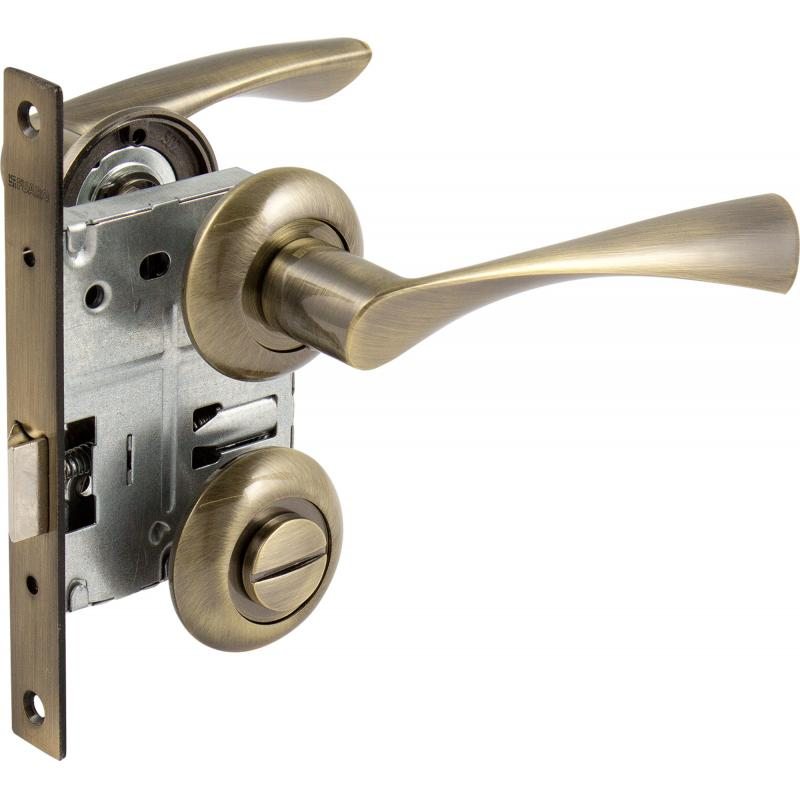 Комплект дверных ручек без запирания SET45/Z PRIMA RM/HD AB-6 зеленая бронза