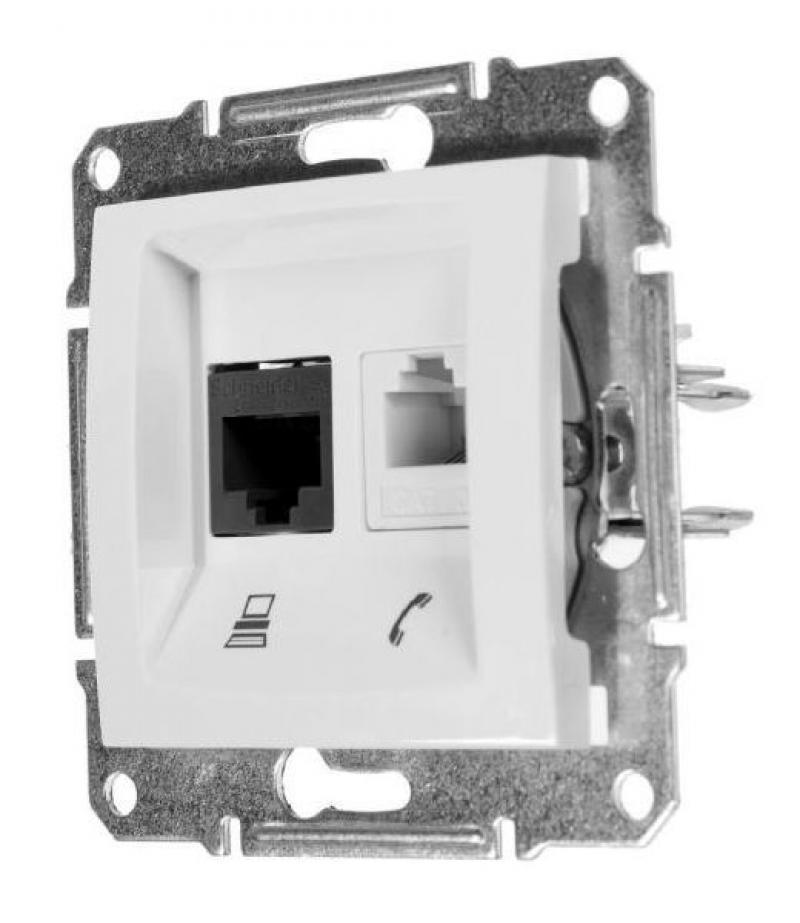 Розетка компьютерная Schneider Electric Sedna, компьютер/телефон, цвет белый