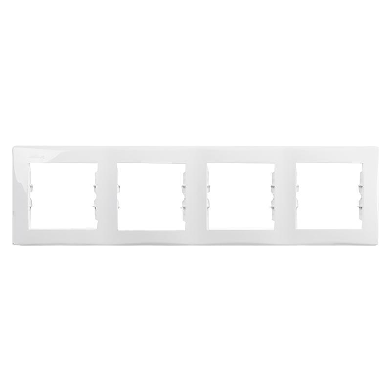 Рамка для розеток и выключателей Sedna, 4 поста, цвет белый