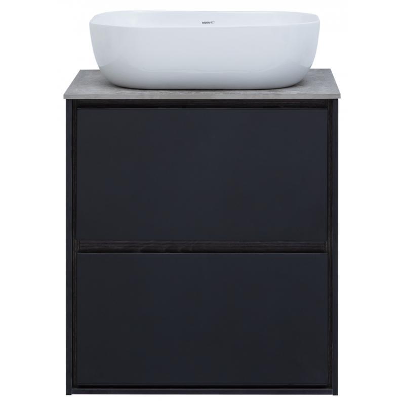 Тумба под раковину подвесная «Мокка» 60 см, цвет чёрный глянец