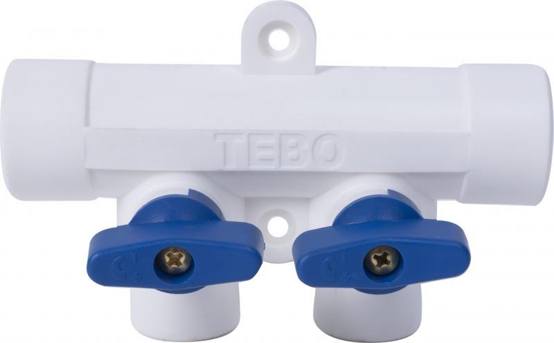 Коллектор Тебо, 2 выхода c кранами, 25х20 мм, полипропилен