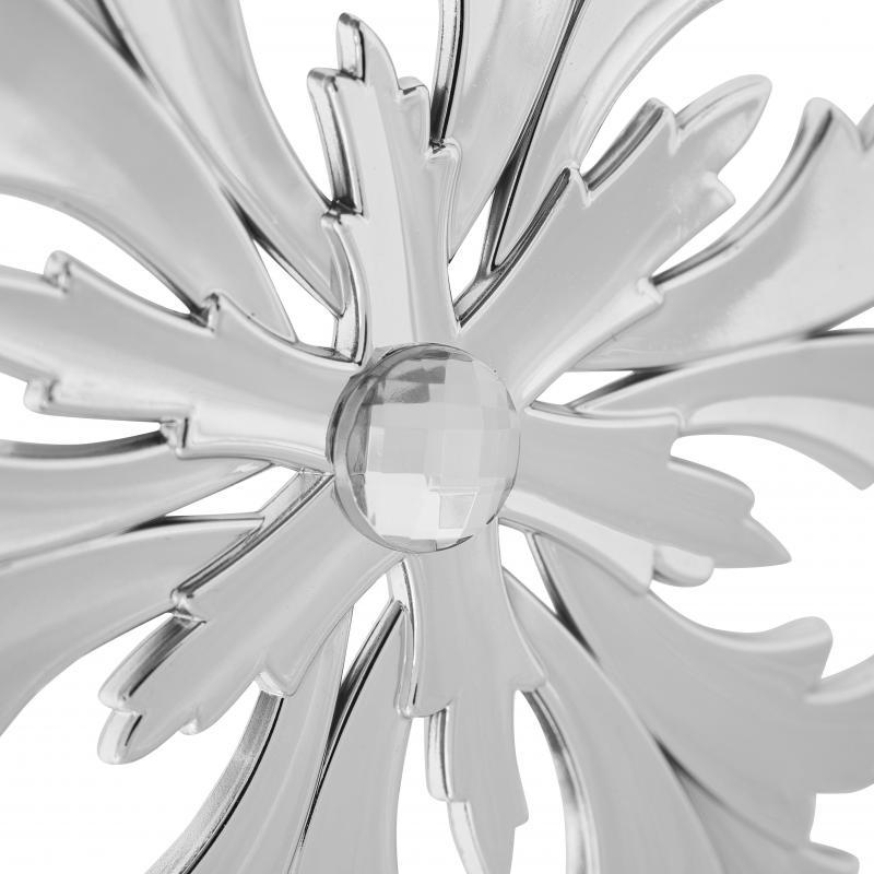Украшение ёлочное «Снежинка Кристалл», с камнем, 11 см, цвет серебристый
