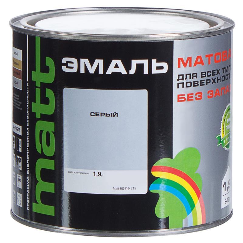 Эмаль серая ВД-ПФ 215 МАТТ 1.9 л