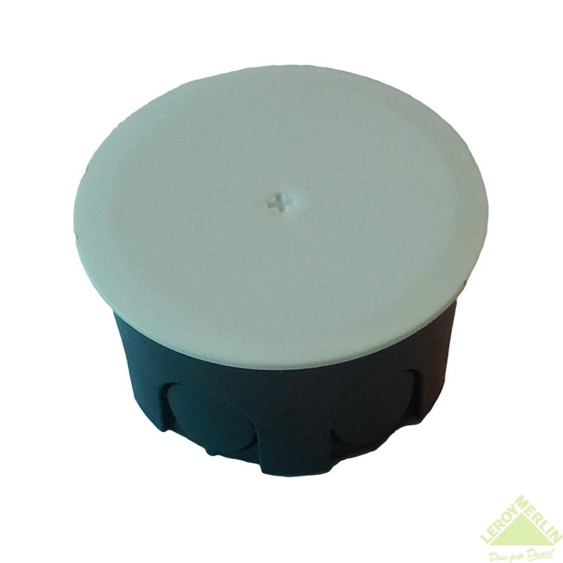 Коробка распределительная круглая, 68х68х42 мм цвет чёрный