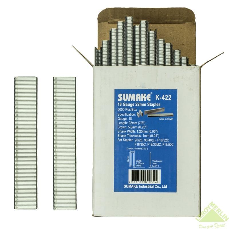 Скоба для степлера Sumake K-422 для 90/25 и 90/40, 22 мм, 5000 шт.