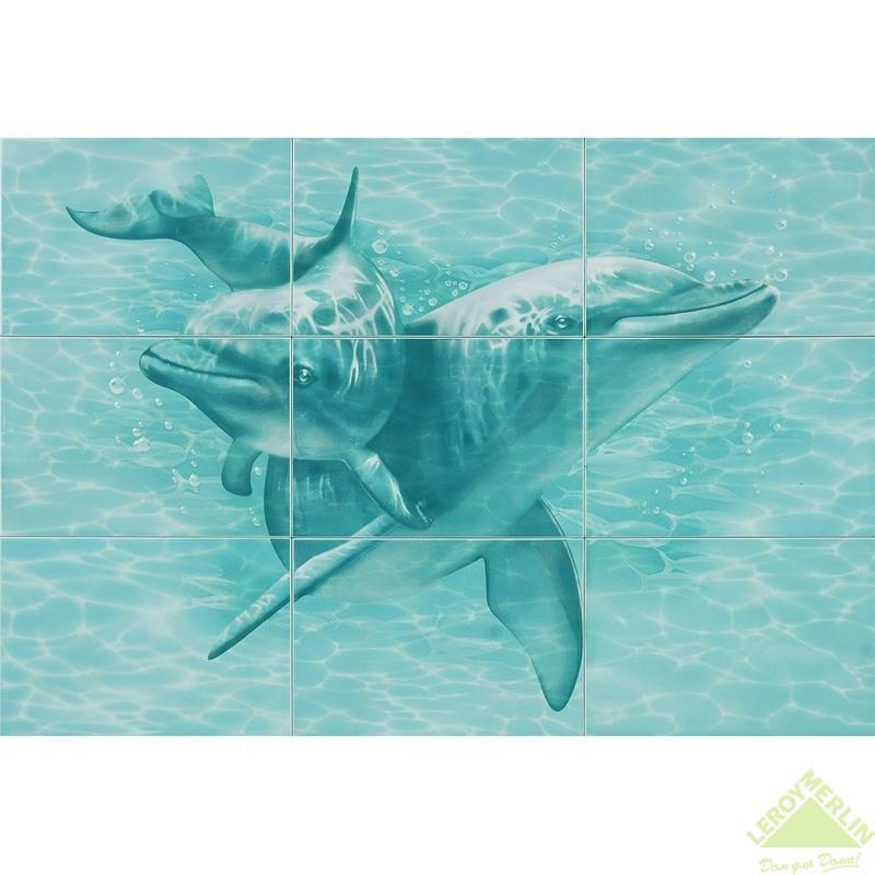 Панно Лагуна Дельфины, 747х1092 см