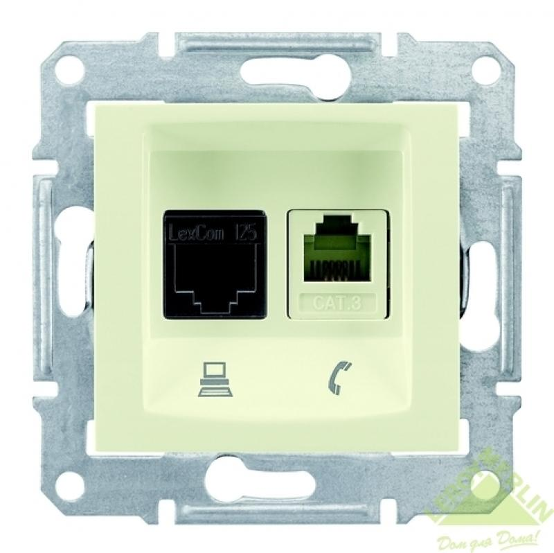 Розетка компьютерная Schneider Electric Sedna, компьютер/телефон, цвет бежевый