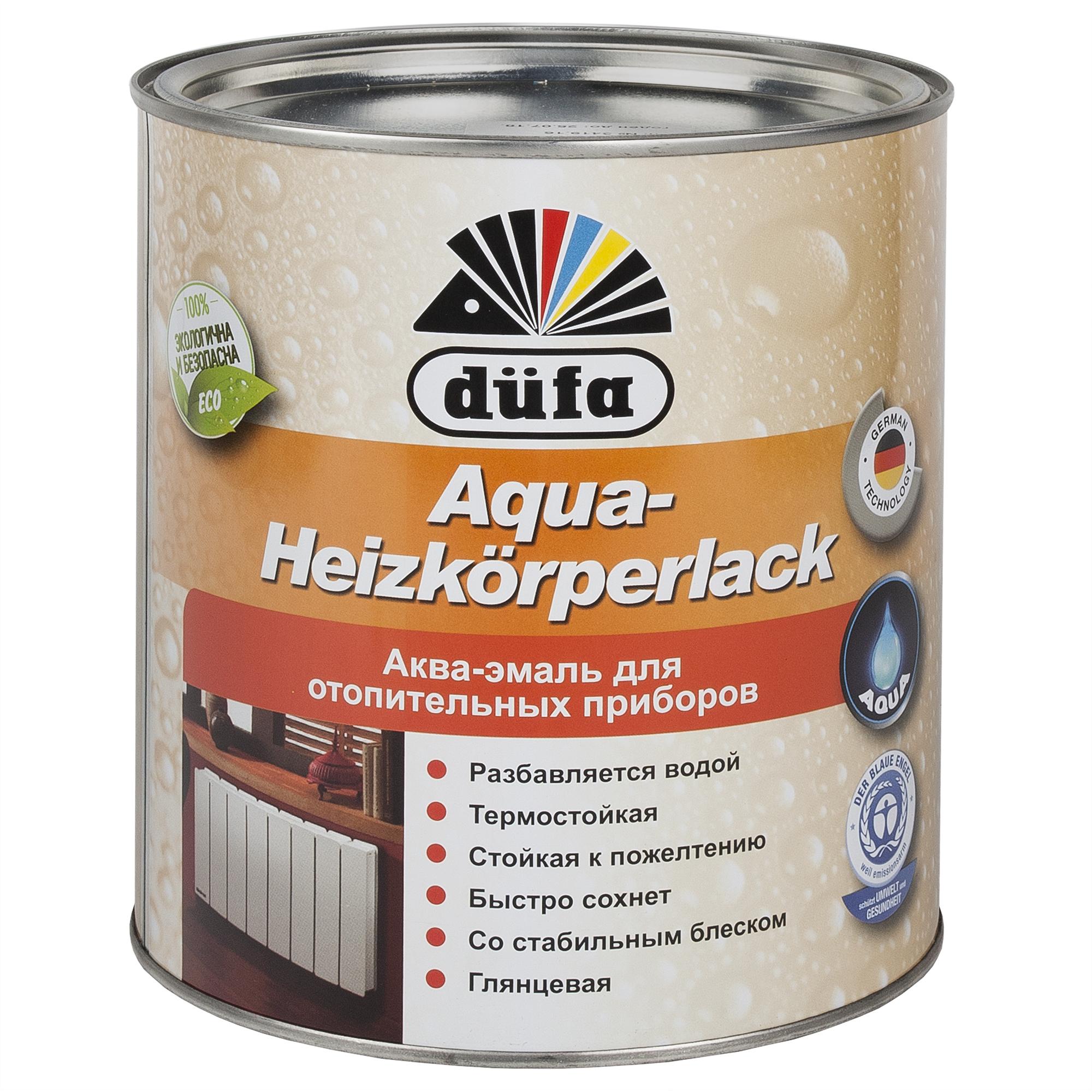 Акрилдік шайыр негізді су қосып сұйылтылатын эмаль: Dufa Aqua-Heizkorperlack радиаторларға арналған эмаль, ақ түсті, 2,5 л