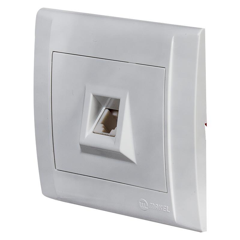 Розетка Makel Defne телефонная (евро), цвет белый