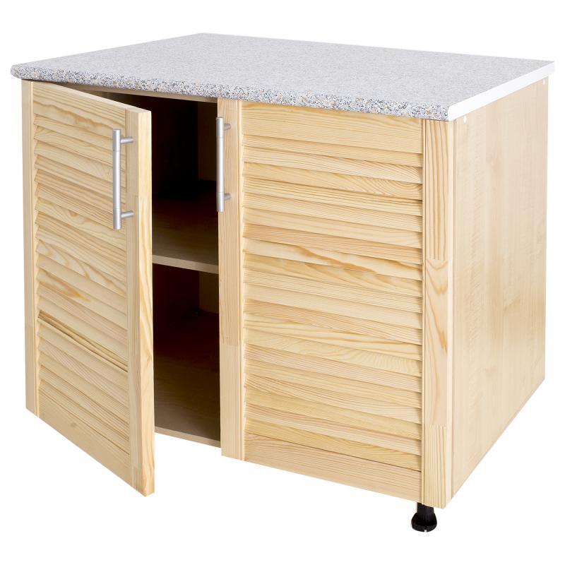 Шкаф напольный «Сосна жалюзи Мо» с фасадом 85х80 см, хвоя/ЛДСП, цвет cосна
