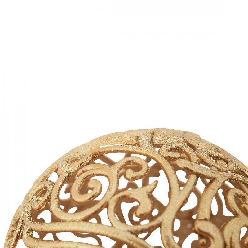 Шар ёлочный «Ажур», 10 см, цвет матовое золото