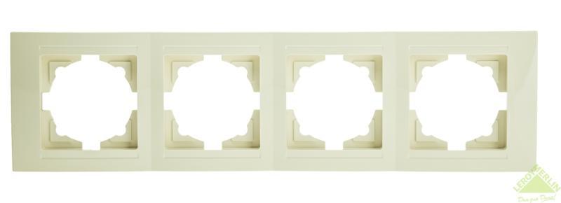 Рамка для розеток и выключателей Gunsan Moderna 4 поста, цвет кремовый