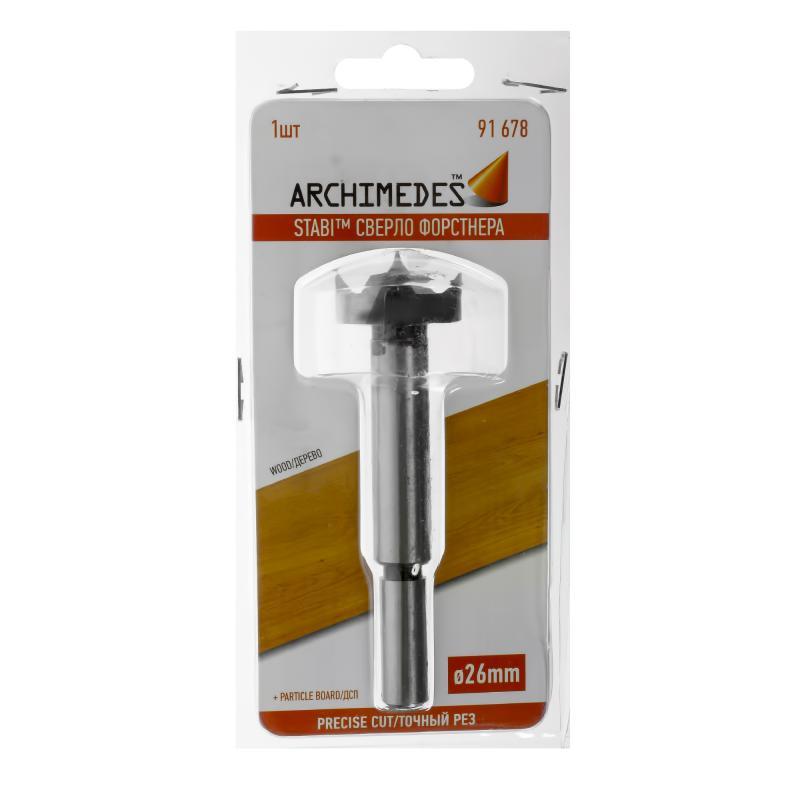 Сверло Форстнера по дереву 26 мм Archimedes 91678