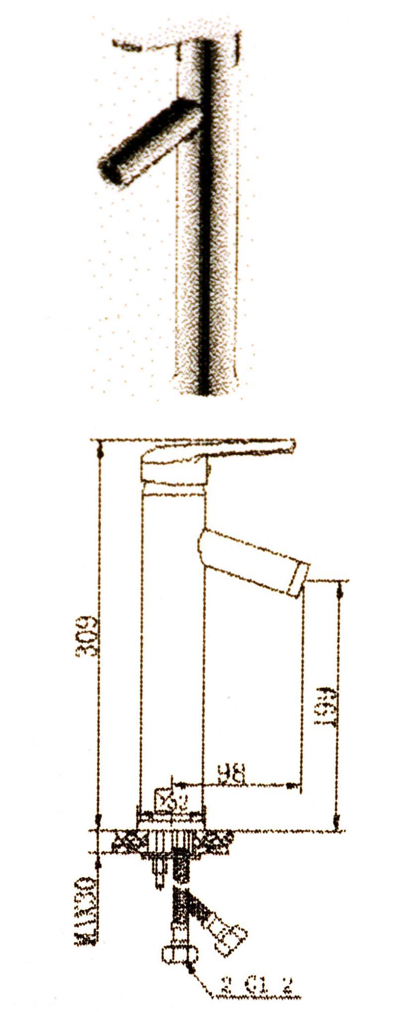 Смеситель для раковины «Andy» однорычажный с высоким изливом, цвет хром
