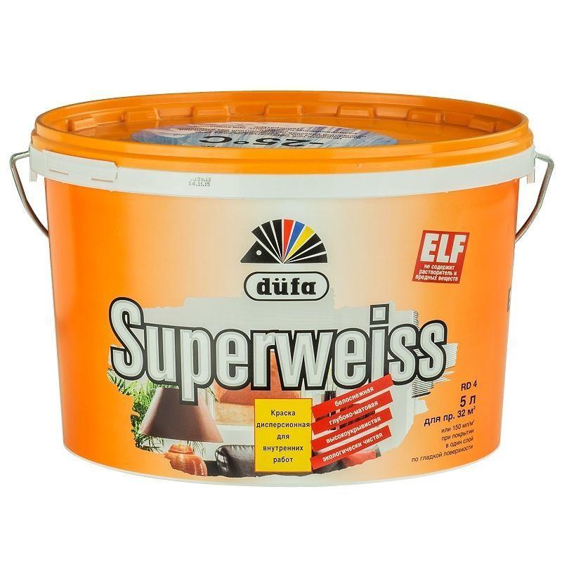 Краска для стен и потолков Dufa Superweiss 5 л цвет белый