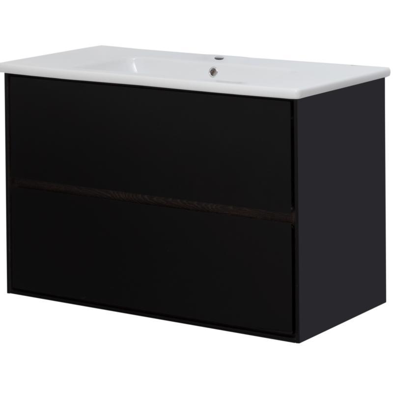 Тумба под раковину подвесная «Мокка» 100 см, цвет чёрный глянец