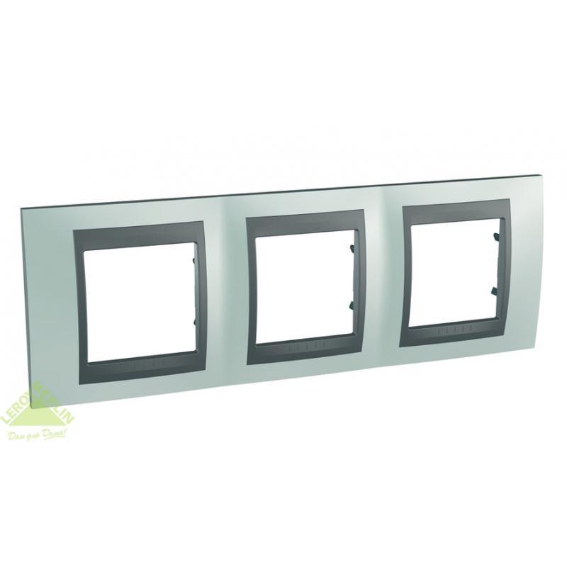 Рамка для розеток и выключателей Schneider Electric Unica Top 3 поста флюорит/графит