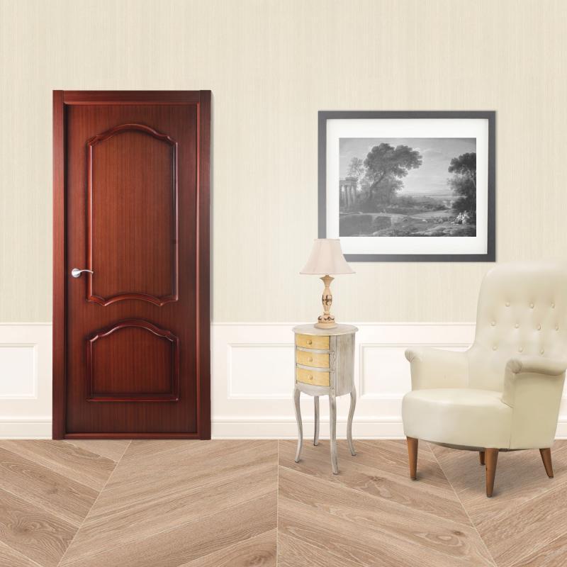 Дверь межкомнатная глухая Каролина 60x200 см, ламинация, цвет красное дерево