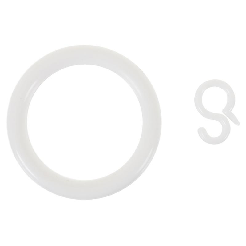 Кольцо пластик цвет белый с крючоком 4 шт.