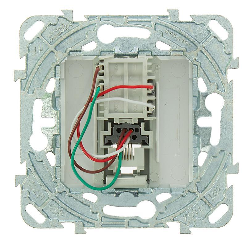 Телефонная розетка встраиваемая Schneider Electric Unica RJ11, цвет белый