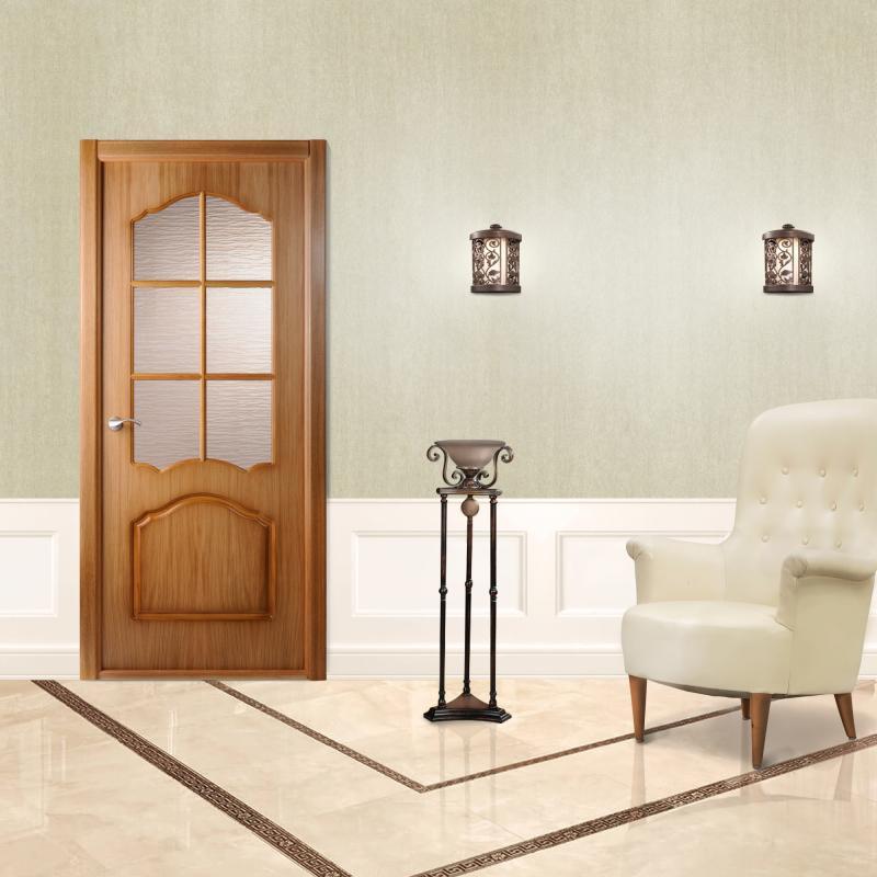 Дверь межкомнатная остеклённая Каролина 80x200 см, ламинация, цвет дуб