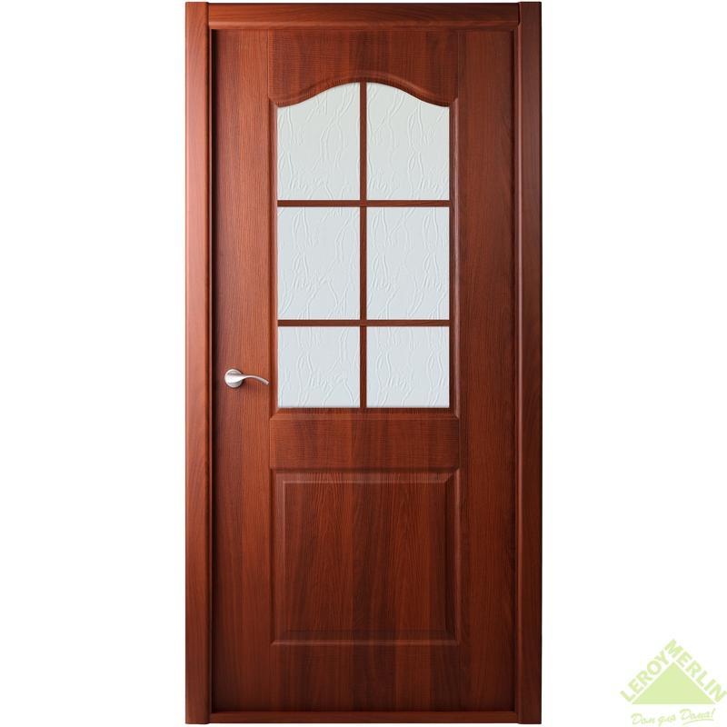 Дверь межкомнатная остеклённая Капричеза 600x2000 мм, итальянский орех