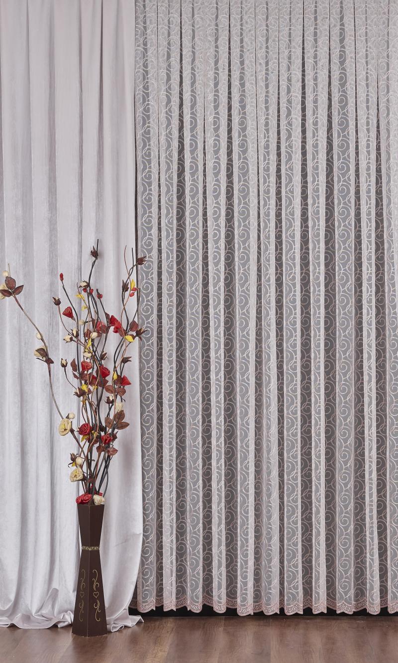 Тюль с вышивкой на сетке «Завитки» 1 п/м 290 см цвет пудра