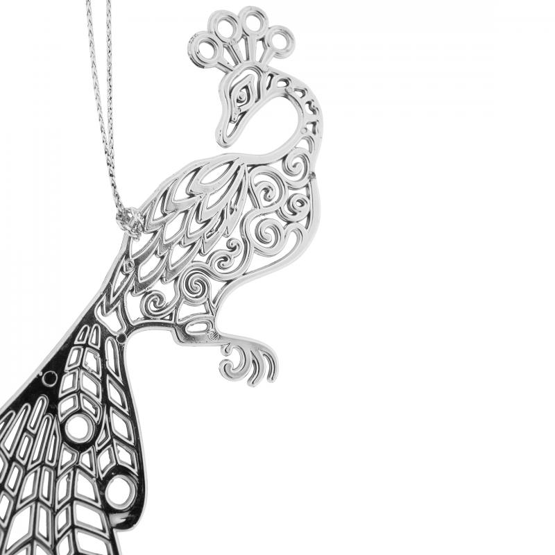 Украшение ёлочное «Жар-птица», 11 см, гальваника, цвет серебряный